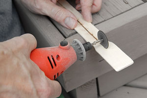 cutting wood with a miniature power tool